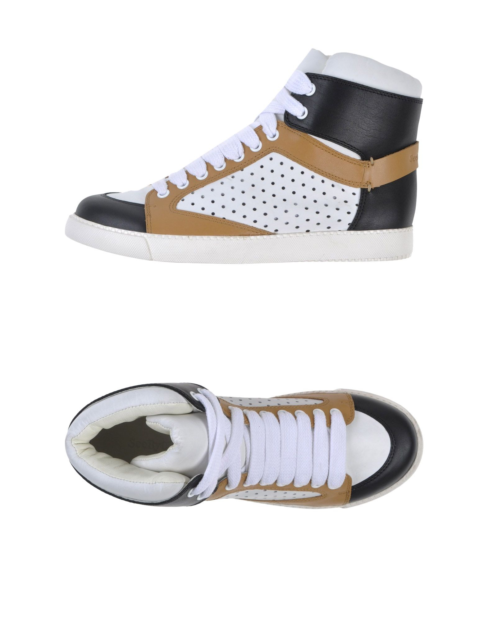 see by chlo paneled high top leather sneakers in black lyst. Black Bedroom Furniture Sets. Home Design Ideas
