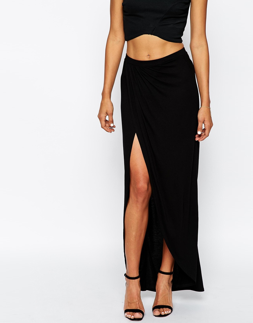 Asos Wrap Maxi Skirt In Jersey in Black   Lyst
