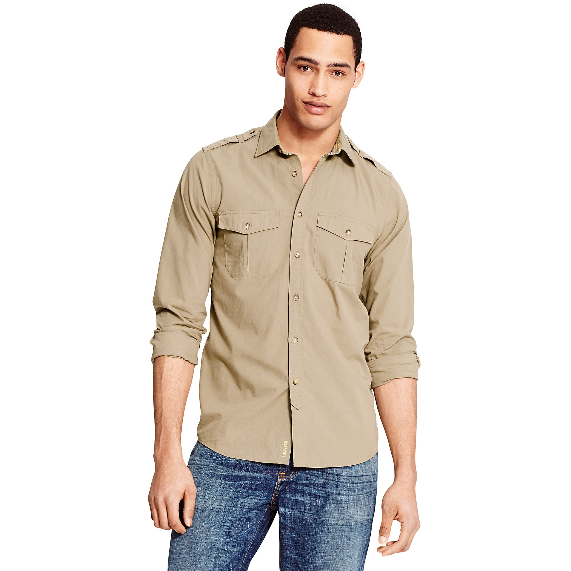 tommy hilfiger beige slim fit camp shirt for men lyst. Black Bedroom Furniture Sets. Home Design Ideas