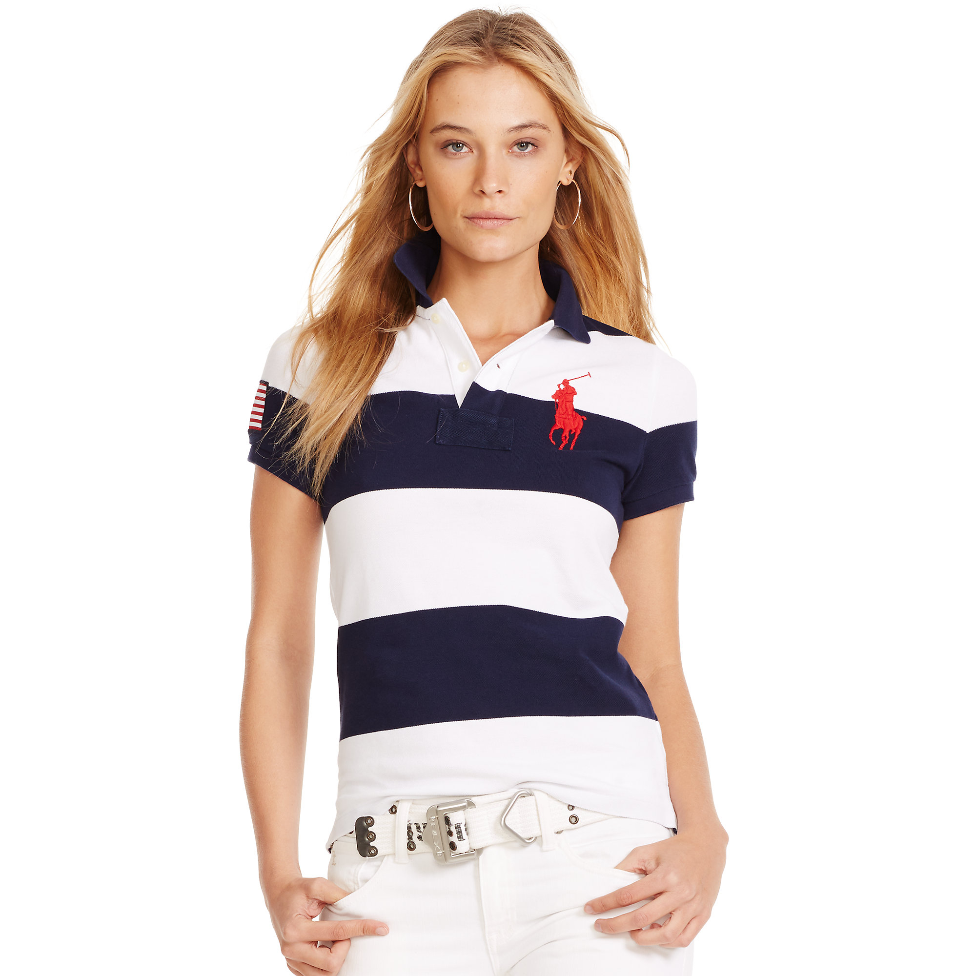 Polo ralph lauren Skinny-Fit Big Pony Polo Shirt in Blue (navy/white) | Lyst