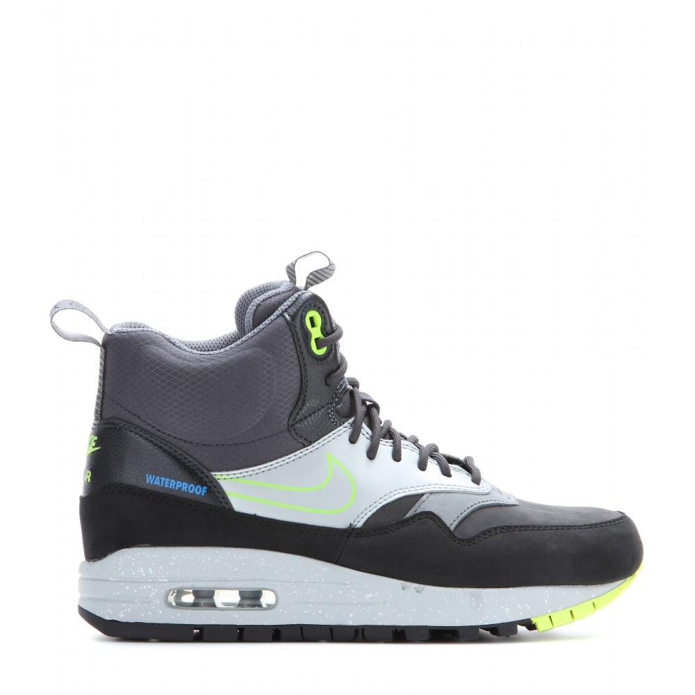 lyst nike air max 1 mid printed high top sneakers in black. Black Bedroom Furniture Sets. Home Design Ideas