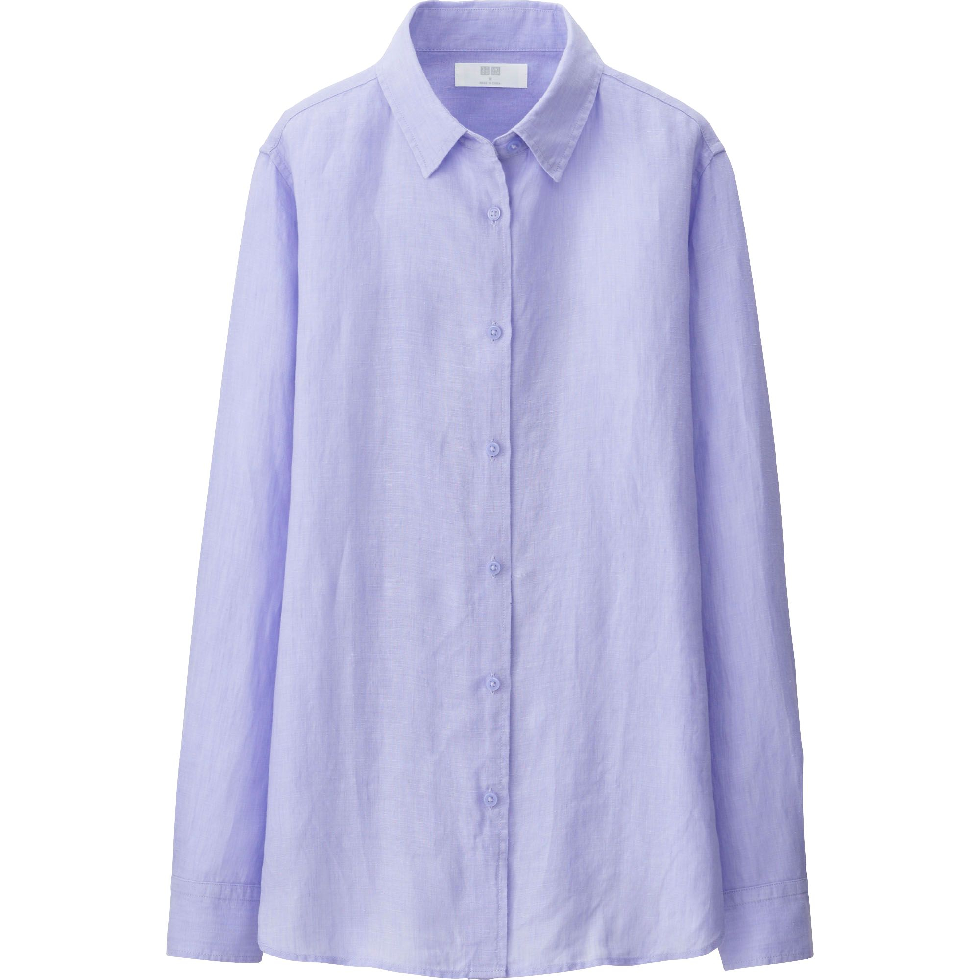 Uniqlo women premium linen long sleeve shirt in purple lyst for Uniqlo premium t shirt