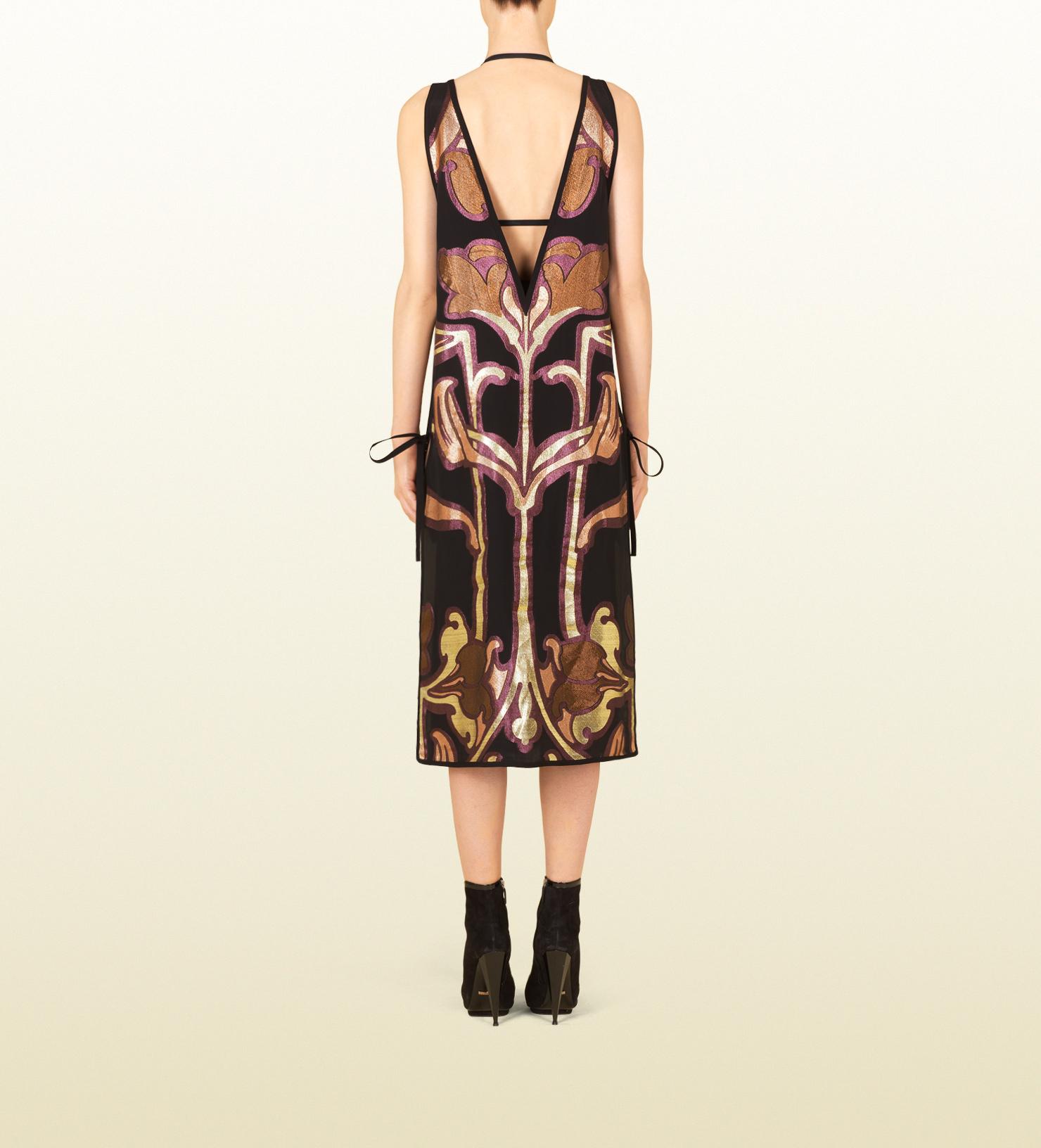 Lyst Gucci Art Nouveau Flower Jacquard Deep Vneck Dress