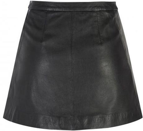 muubaa kalu black leather skirt in black lyst