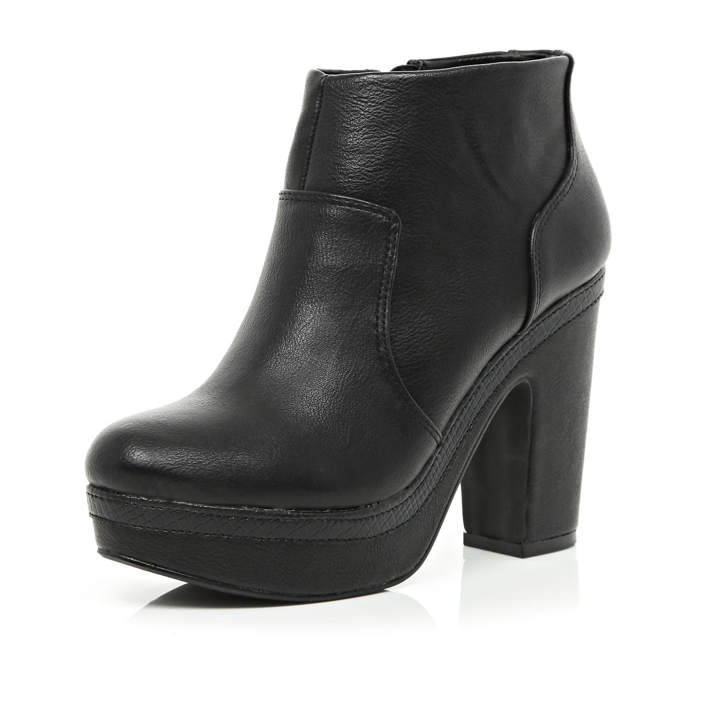 river island black platform ankle boots in black lyst