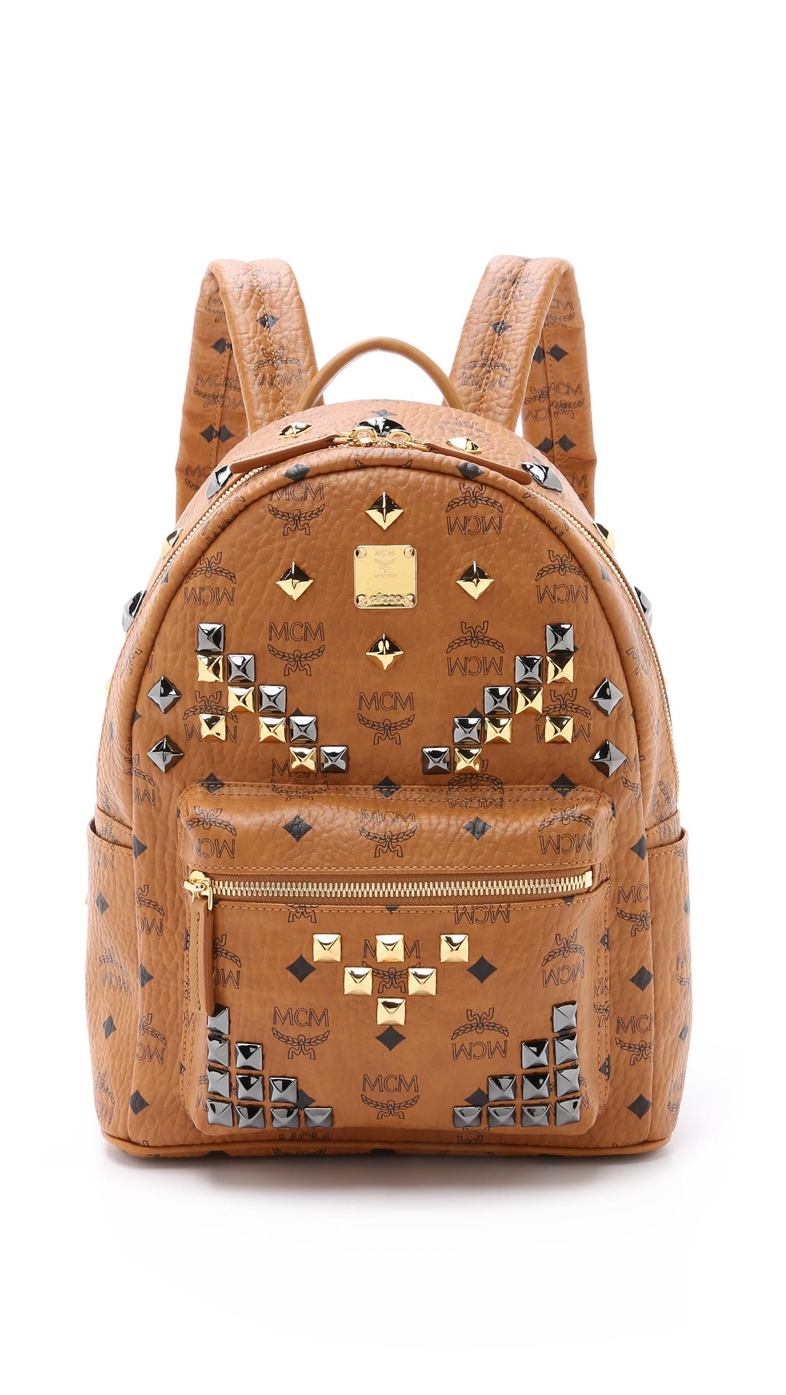 mcm stark x mini side stud backpack in brown lyst. Black Bedroom Furniture Sets. Home Design Ideas
