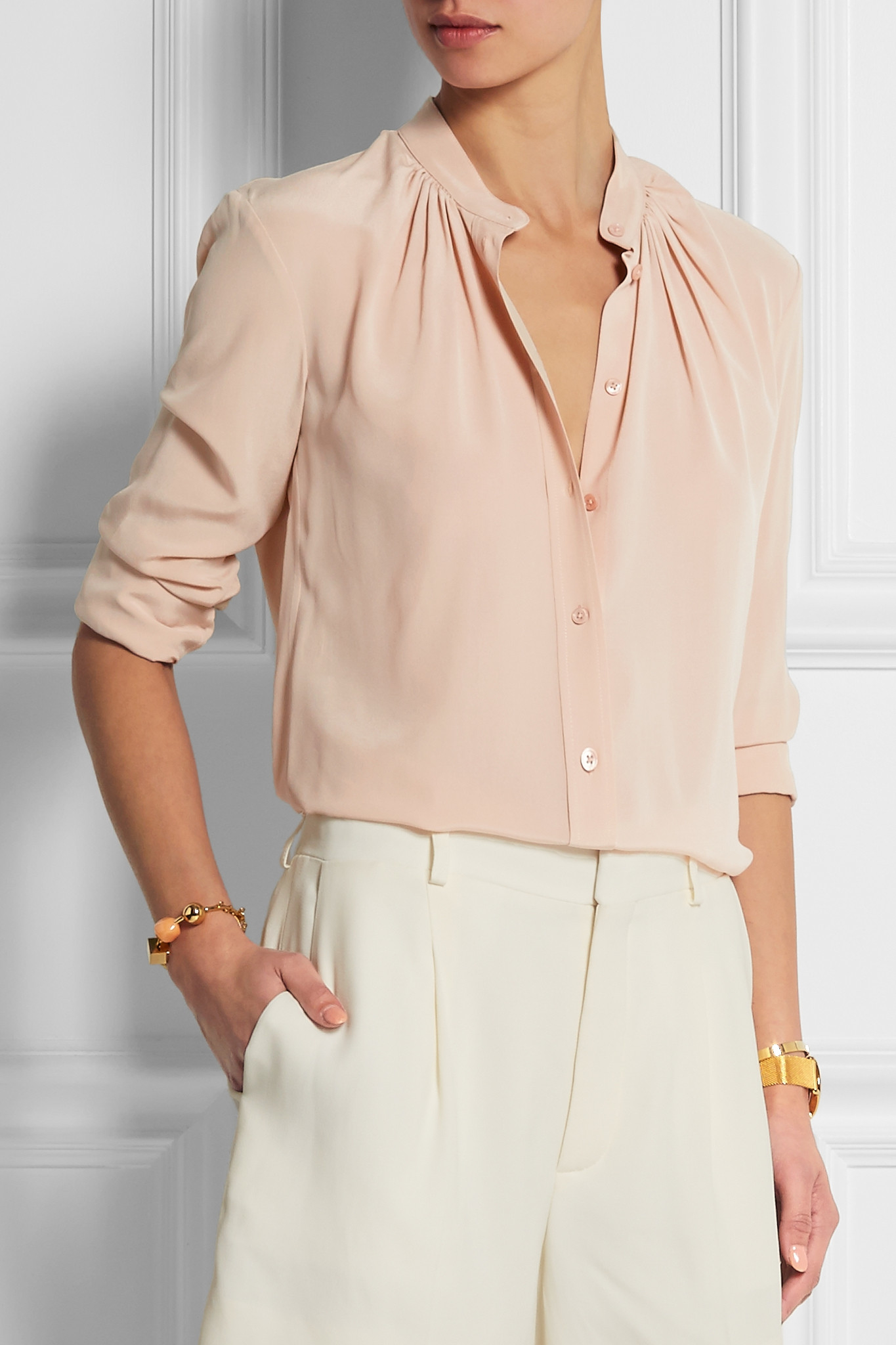Lyst Joseph Carly Silk Crepe De Chine Blouse In Pink