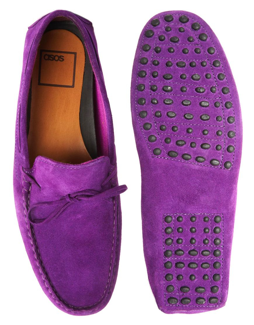 b88974a6c1d Lyst - ASOS Driving Shoes in Suede in Purple for Men