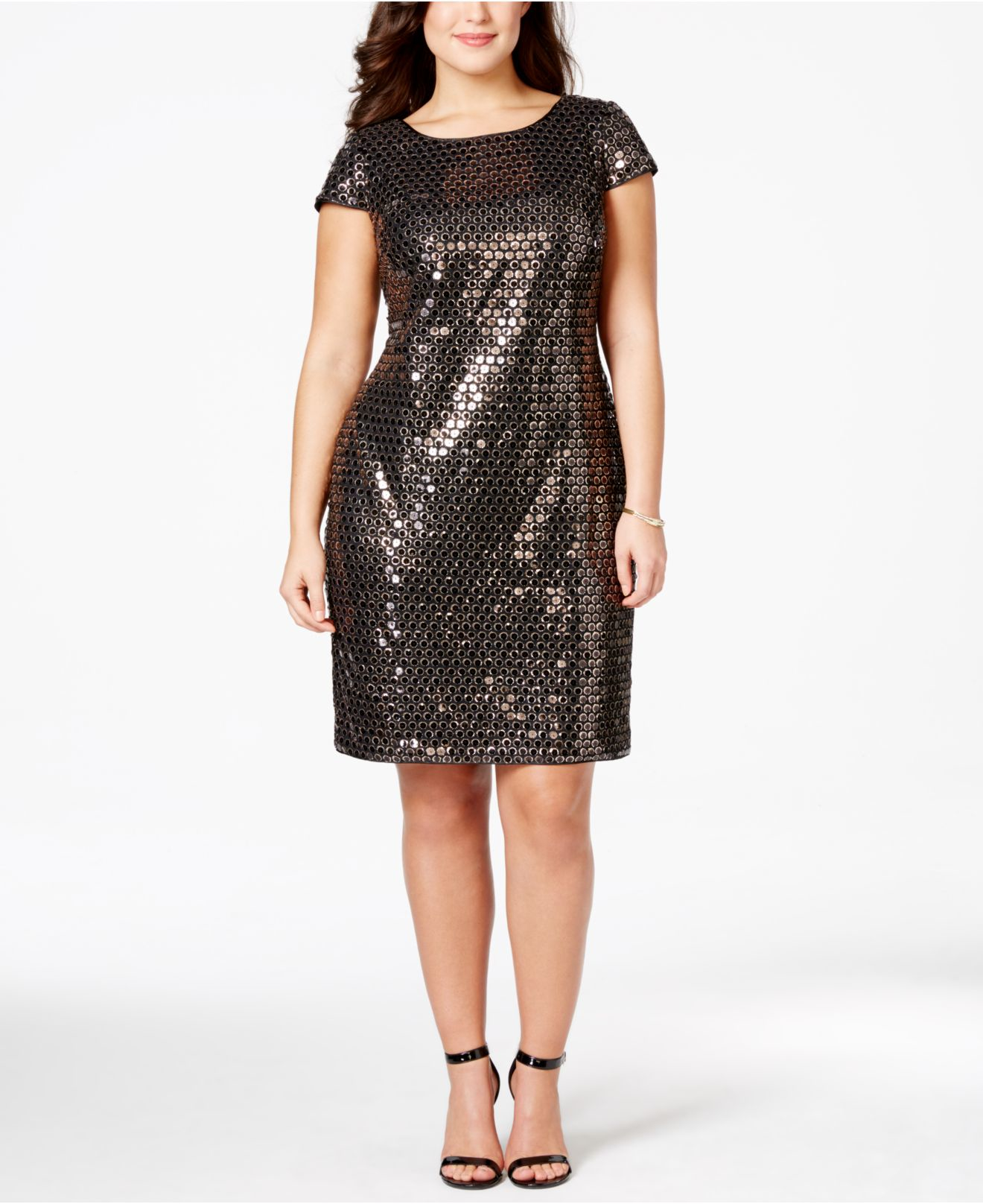 Adrianna papell plus size sequined sheath dress in black lyst