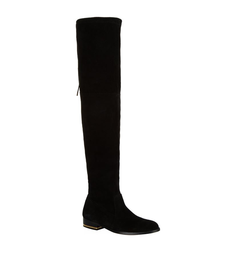 kurt geiger regent the knee flat boot in black lyst