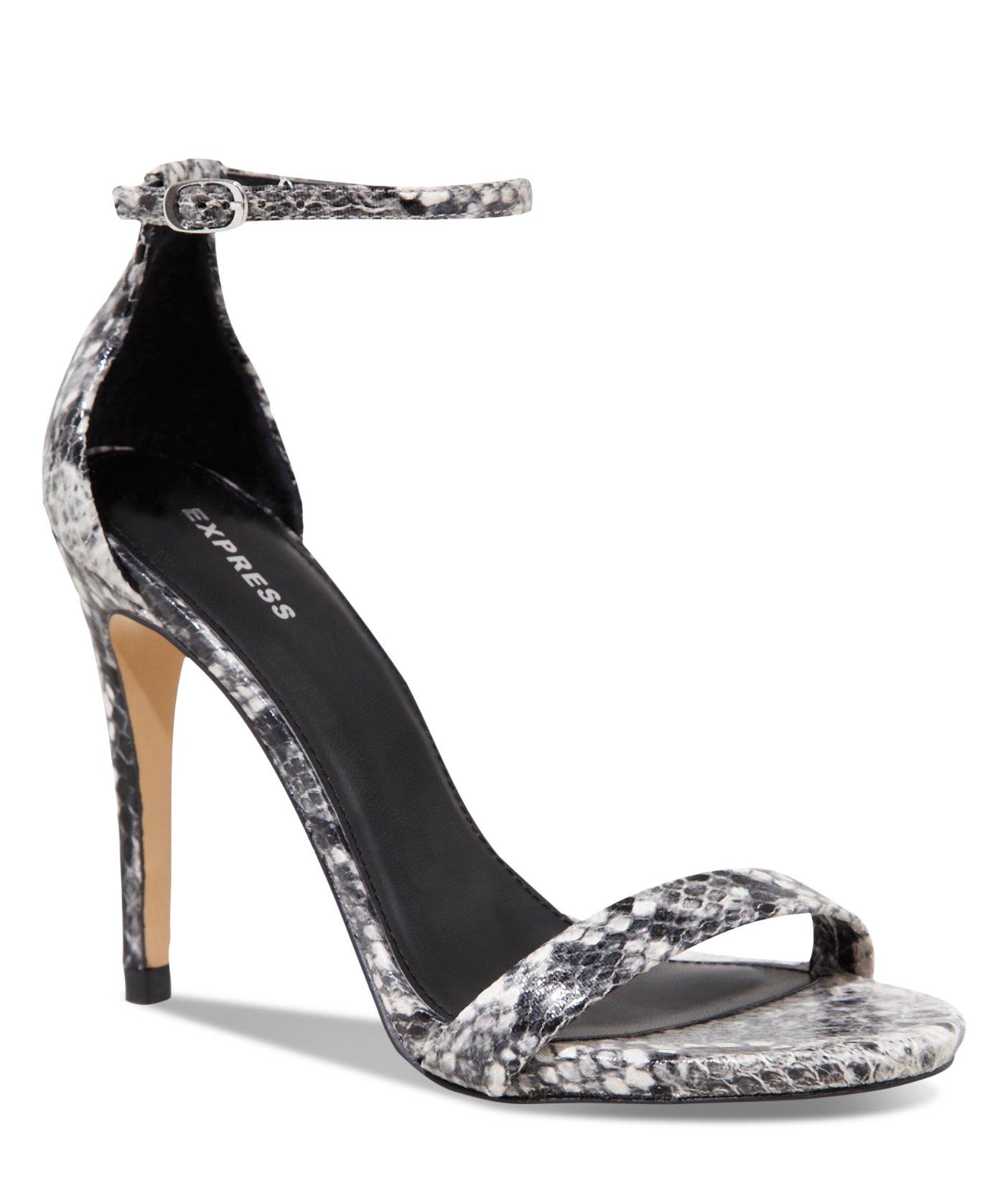 320037f7520 Lyst - Express Snakeskin Print Heeled Runway Sandal