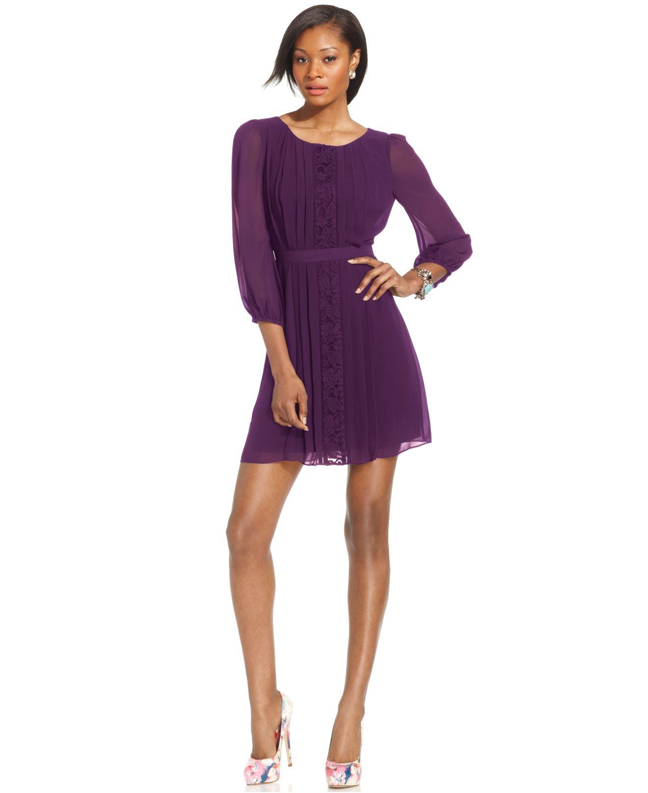 Quarter Sleeve Chiffon Dress