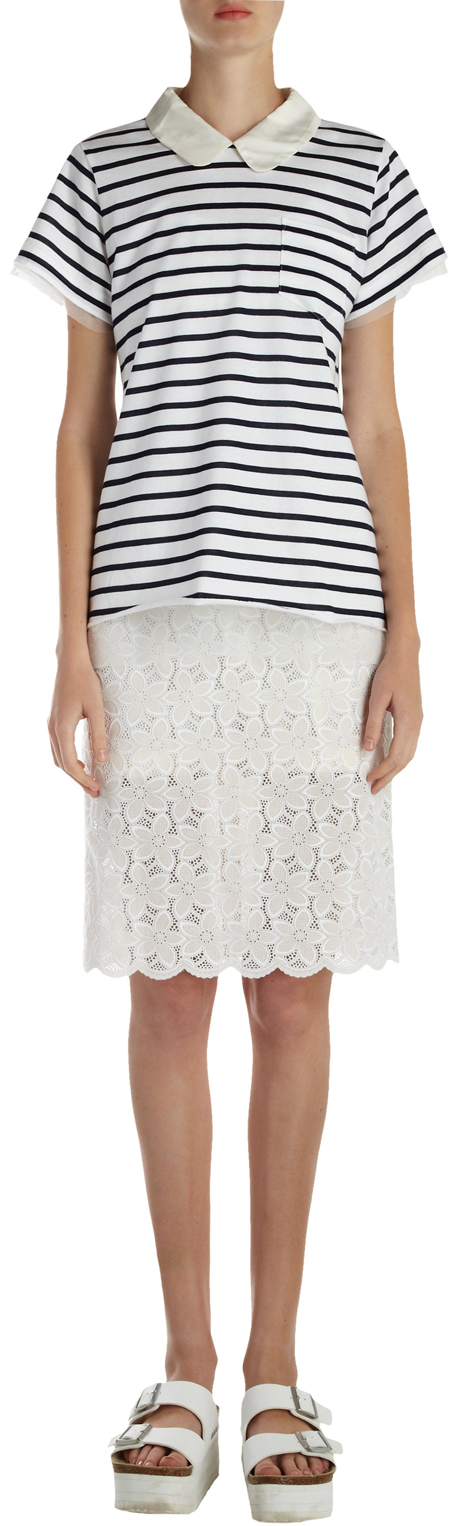 Because of this, we rounded up eight new ways to wear white lace this summer, and threw in a few shopping suggestions for good measure. Scroll through for these easy outfit formulas, and be sure to share how you wear white lace in the comments below! Pencil Skirt + Large Florals. Pinterest Photo: John Lamparski/WireImage. On Jamie Chung.