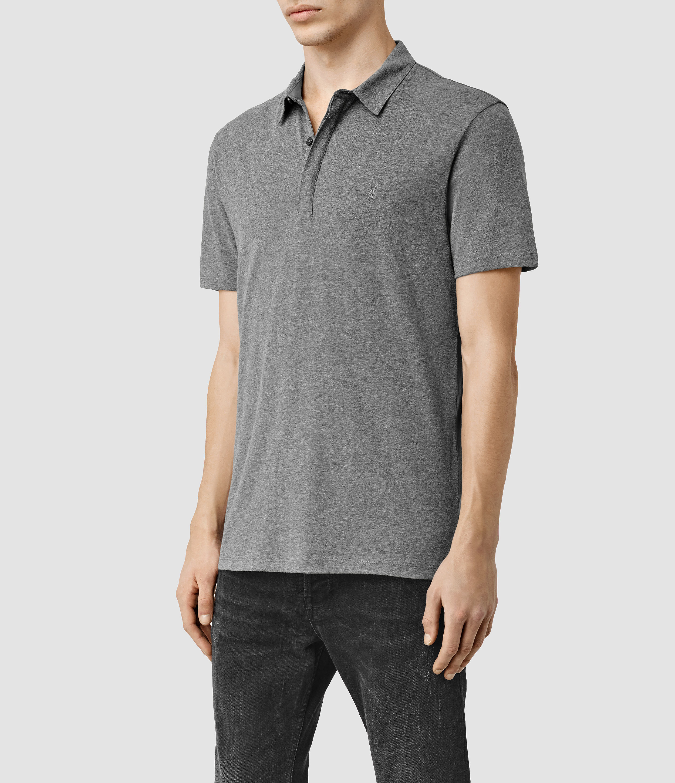 Allsaints Tonic Panel Polo Shirt In Gray For Men Lyst