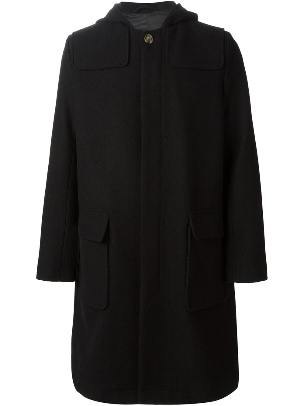 Ami Hooded Coat in Black for Men | Lyst
