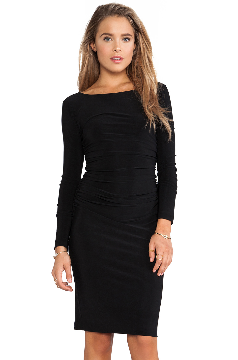 Lyst Norma Kamali Long Sleeved Shirred Waist Dress In Black