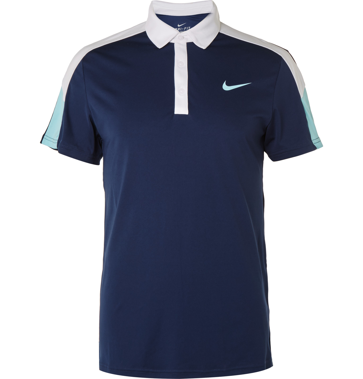 Lyst nike team court dri fit polo shirt in white for men for Navy blue and white nike shirt
