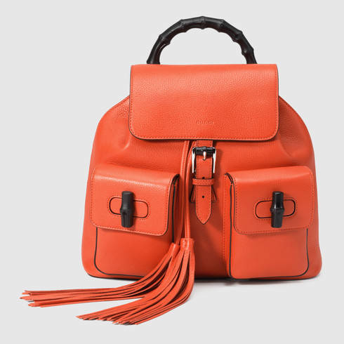 Gucci Bamboo Leather Backpack in Orange | Lyst