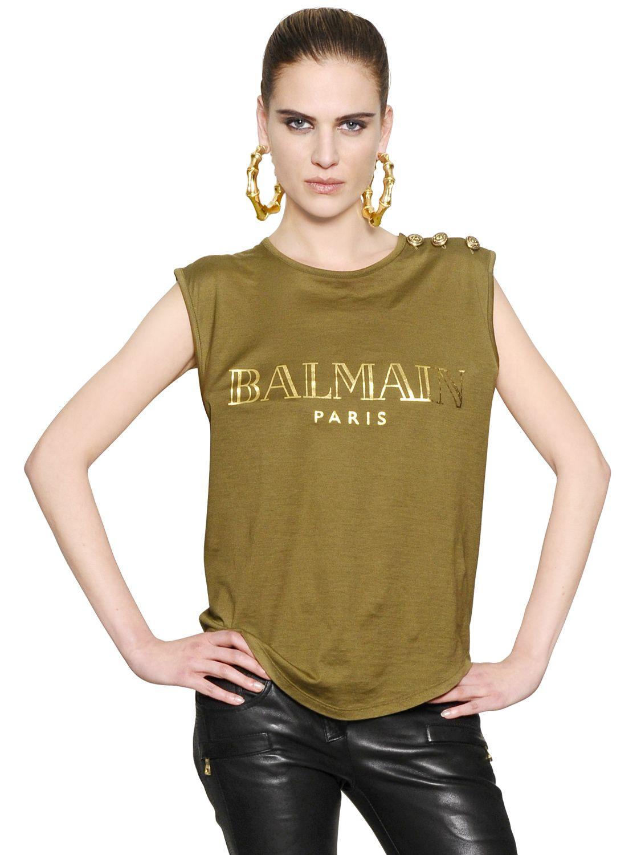 Balmain Logo Printed Cotton Tshirt In Green Lyst
