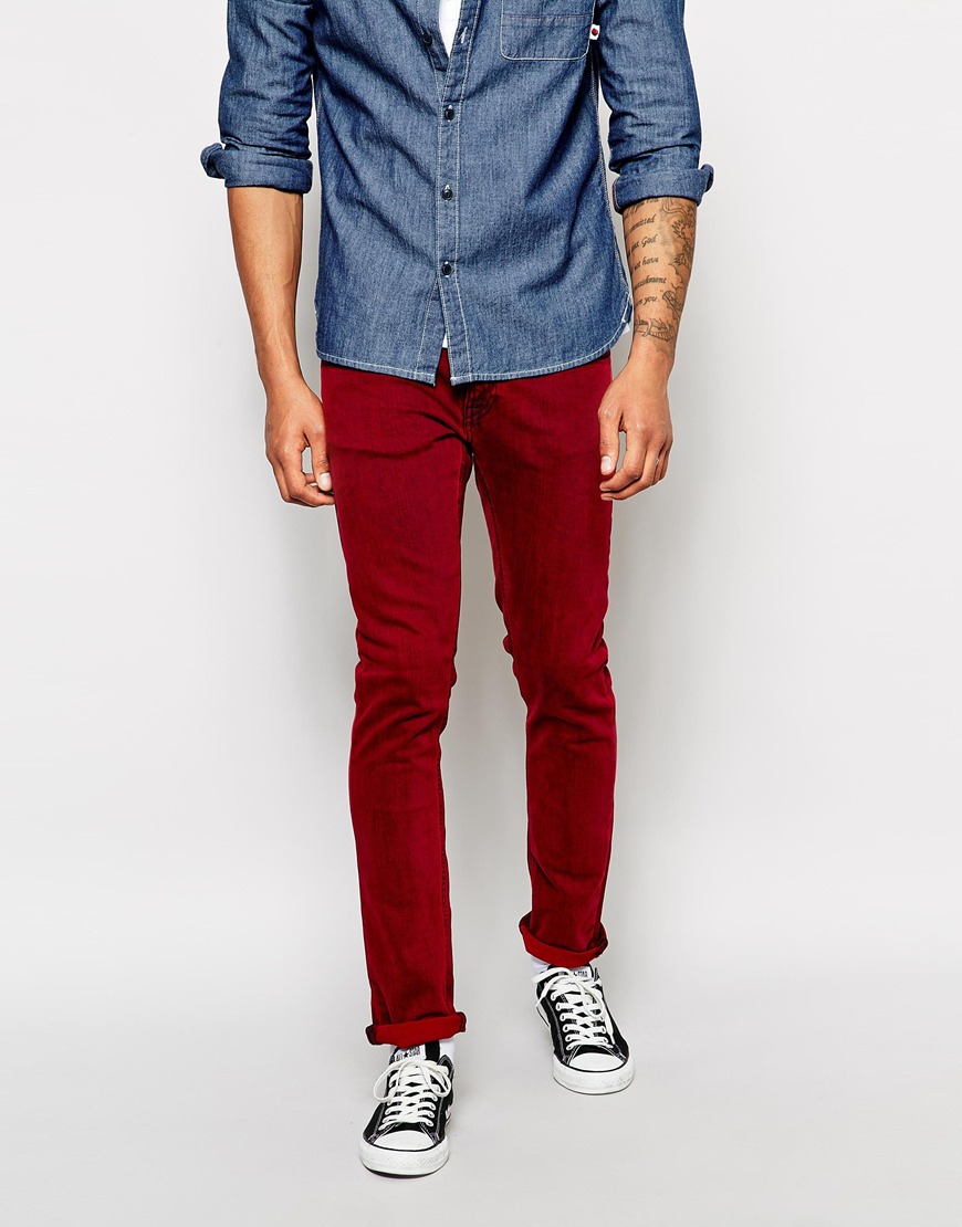 nudie jeans tight long john skinny fit red overdye in red. Black Bedroom Furniture Sets. Home Design Ideas