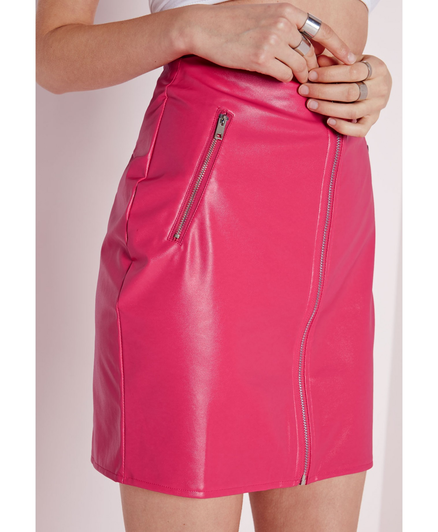 Missguided Zip Front Faux Leather Mini Skirt Pink in Pink | Lyst