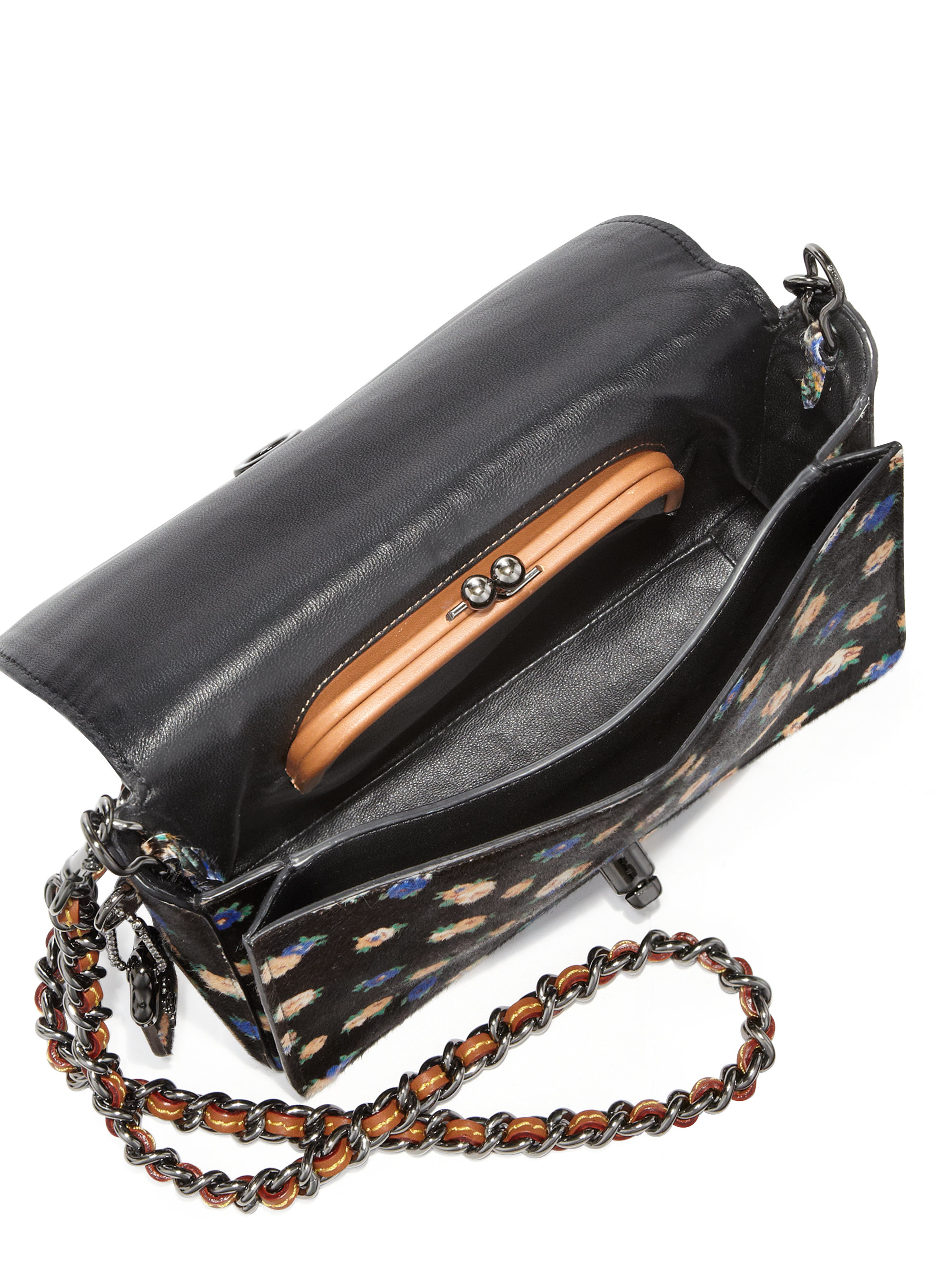 d2d34f6111de7 ... real lyst coach dinky 24 floral print calf hair crossbody bag in black  0354c 5ba5a