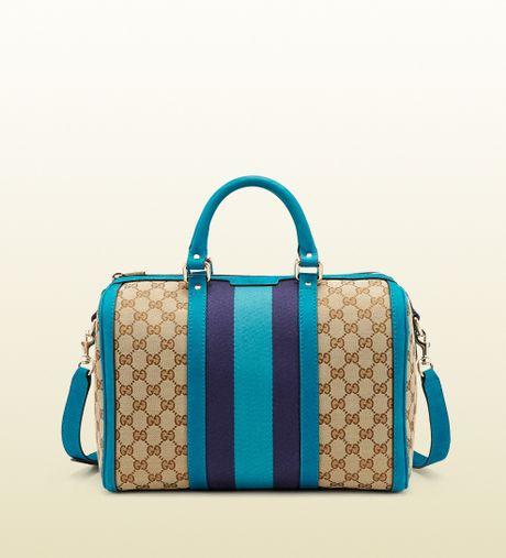 Gucci Vintage Web Original Gg Canvas Boston Bag in Blue (beige)
