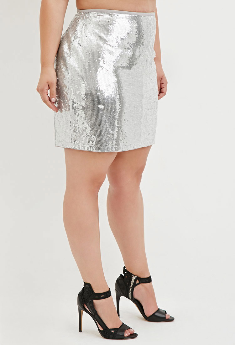72ca7693ac54 Forever 21 Plus Size Sequined Mini Skirt in Metallic - Lyst