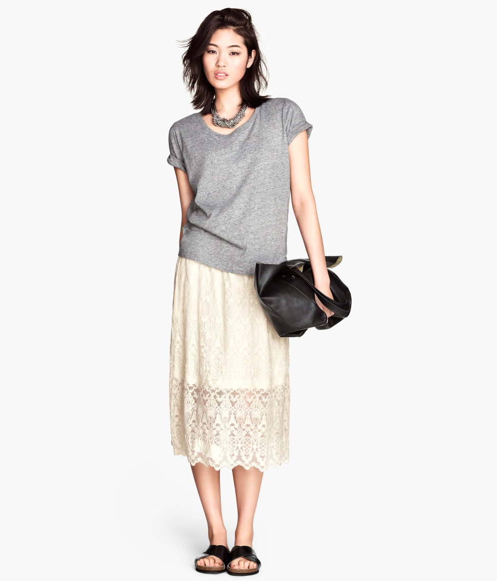 h m lace skirt in lyst
