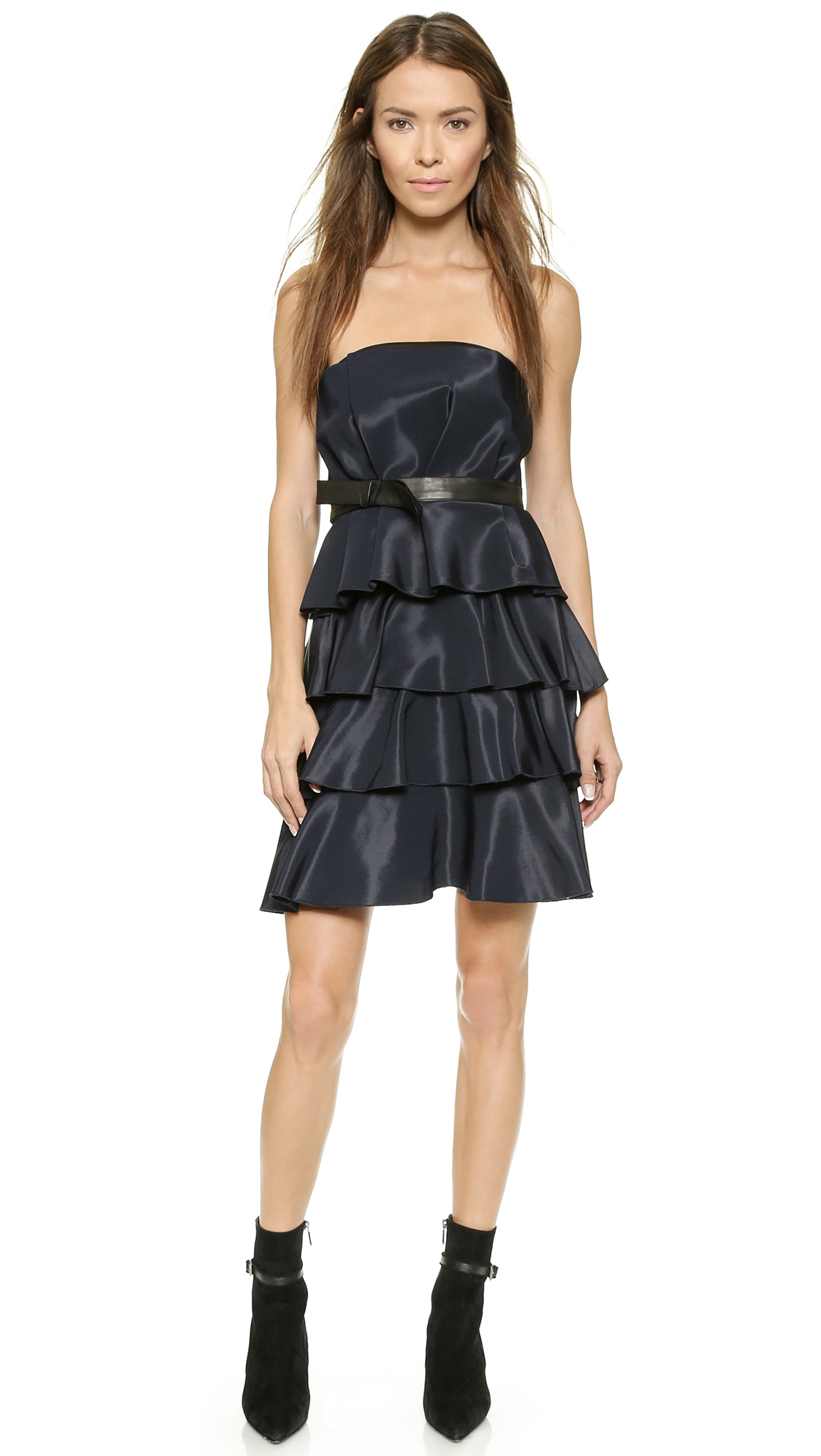 Lyst Rebecca Taylor Ruffle Dress With Leather Trim