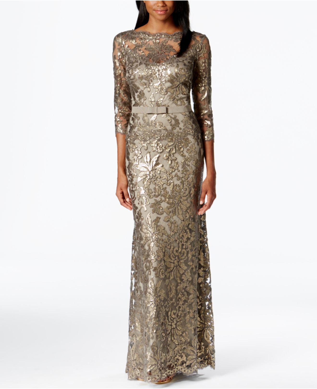 1e847828f1d Tadashi Shoji Smoke Metallic Lace Evening Gown in Gray - Lyst