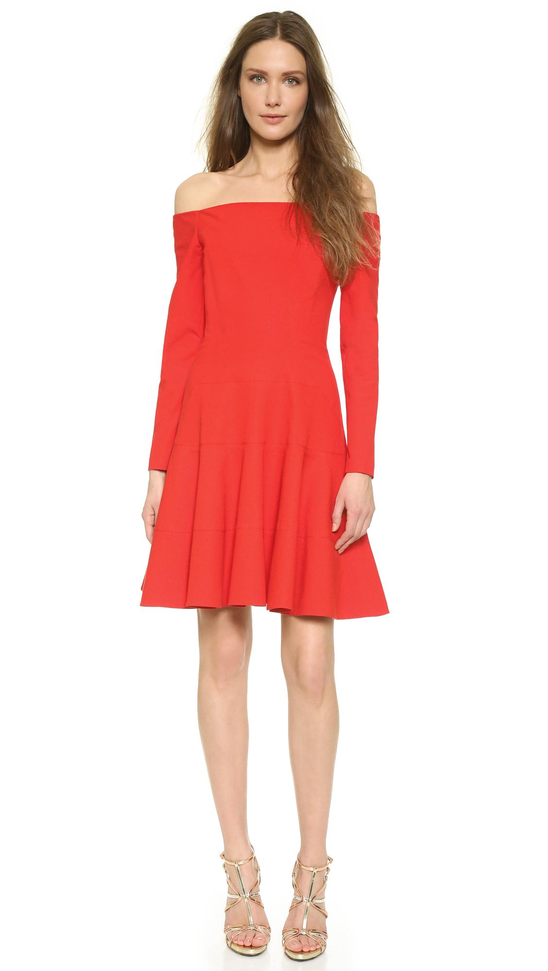 c9566960e692 Lyst - Lela Rose Off Shoulder Dress - Red in Red