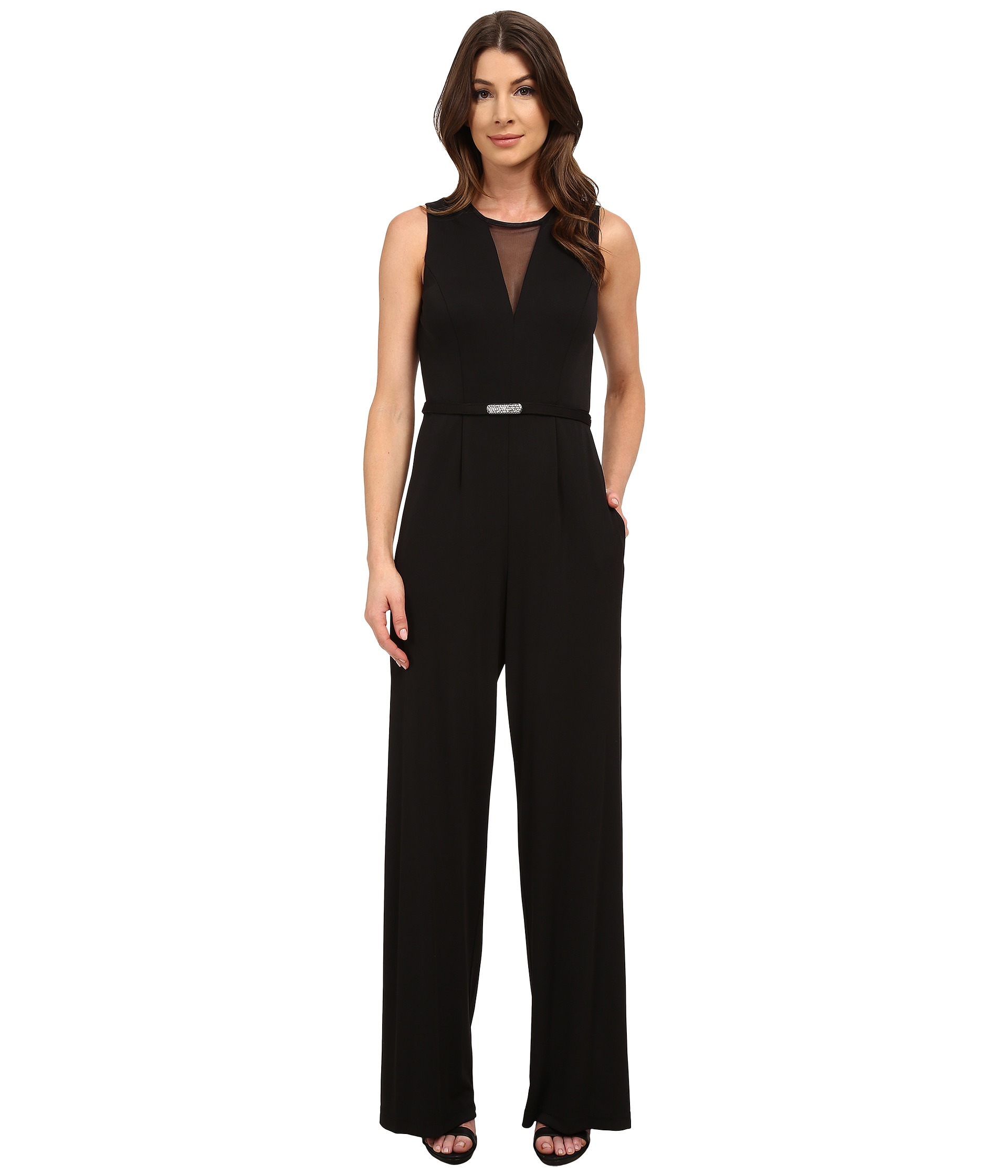 6bc8f0c01c3f Lyst - Vince Camuto Illusion V-neck Sleeveless Jumpsuit in Black