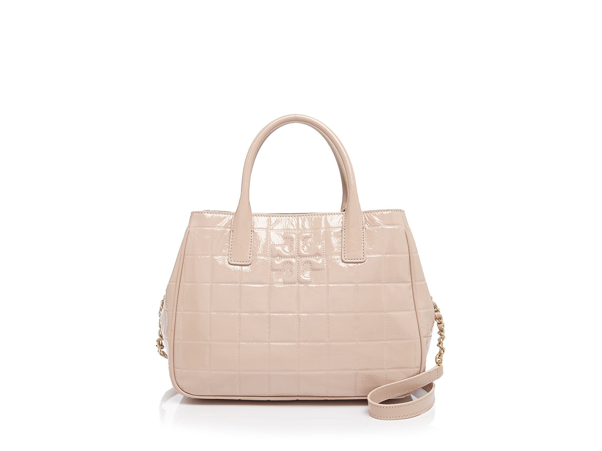 Lyst Tory Burch Marion Quilted Patent Tote In Natural
