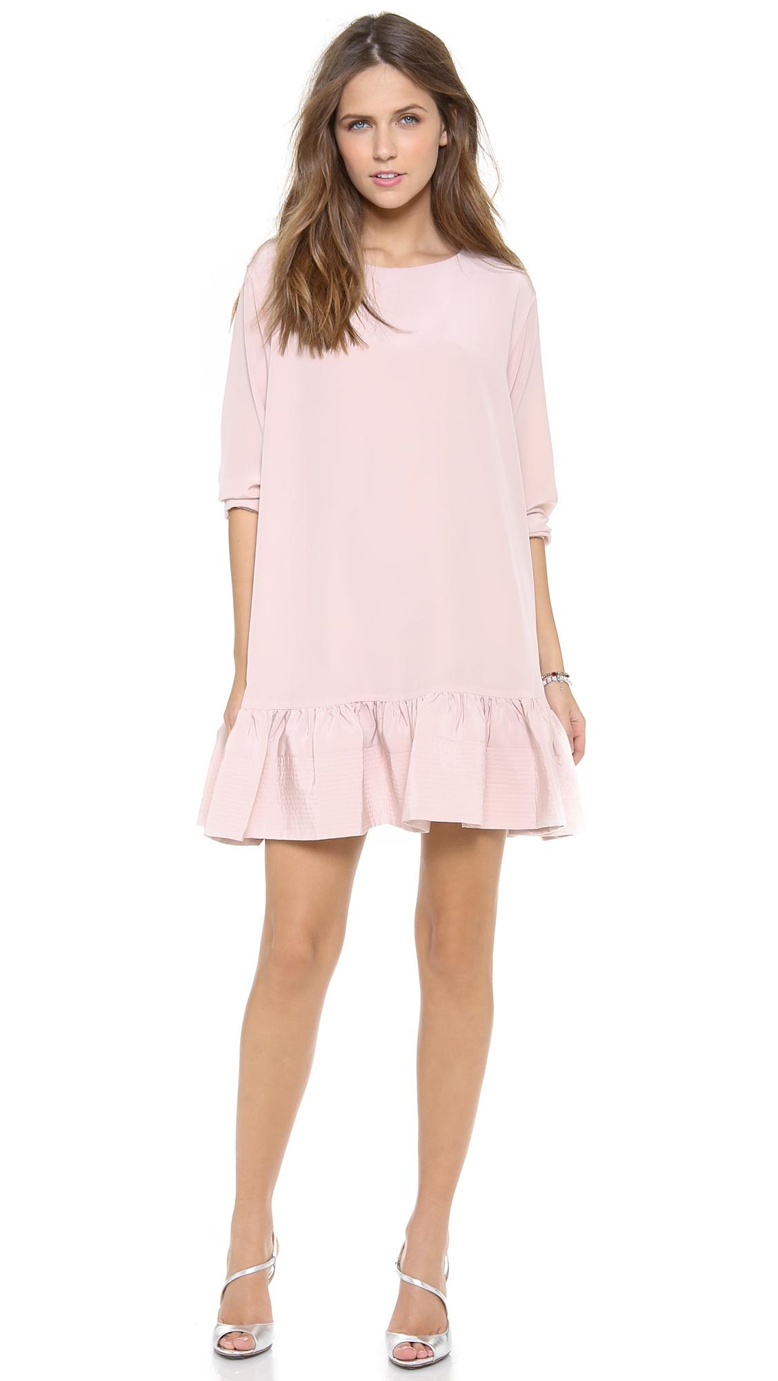 Light Pinky Brown Lip Makeup: Cynthia Rowley Long Sleeve Flounce Dress Light Pink