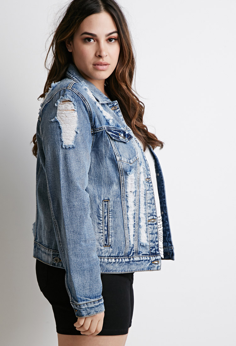 a42d9c1bbb0 Lyst - Forever 21 Plus Size Distressed Denim Jacket in Blue