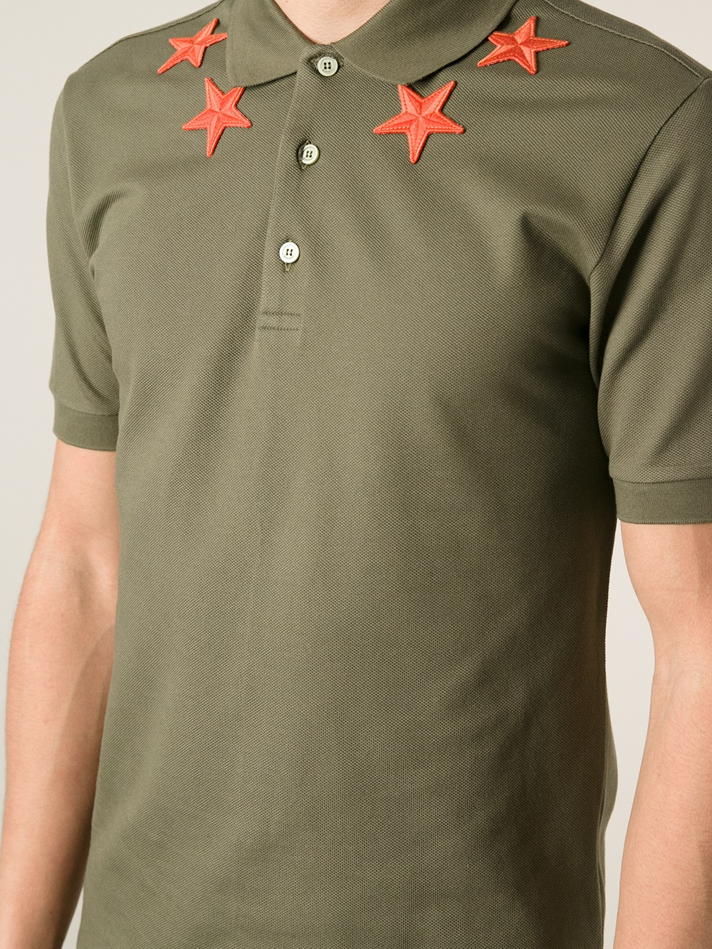 Lyst givenchy star detail polo shirt in green for men for Givenchy 5 star shirt