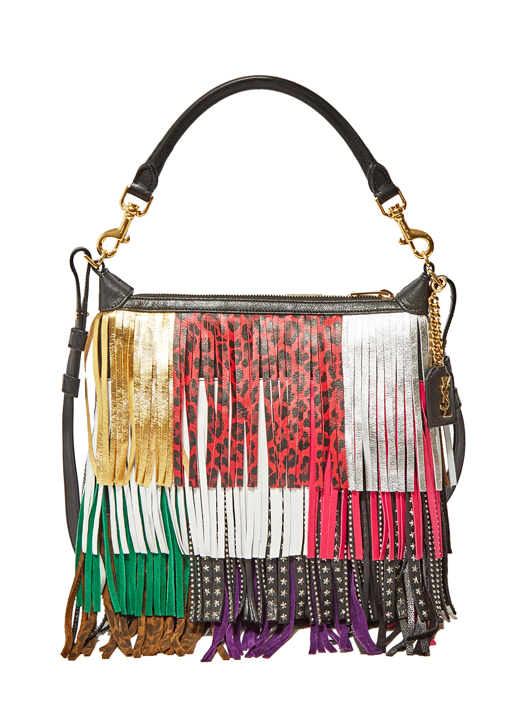 Emmanuelle Small Leather Fringe Hobo Bag Black Multicolor