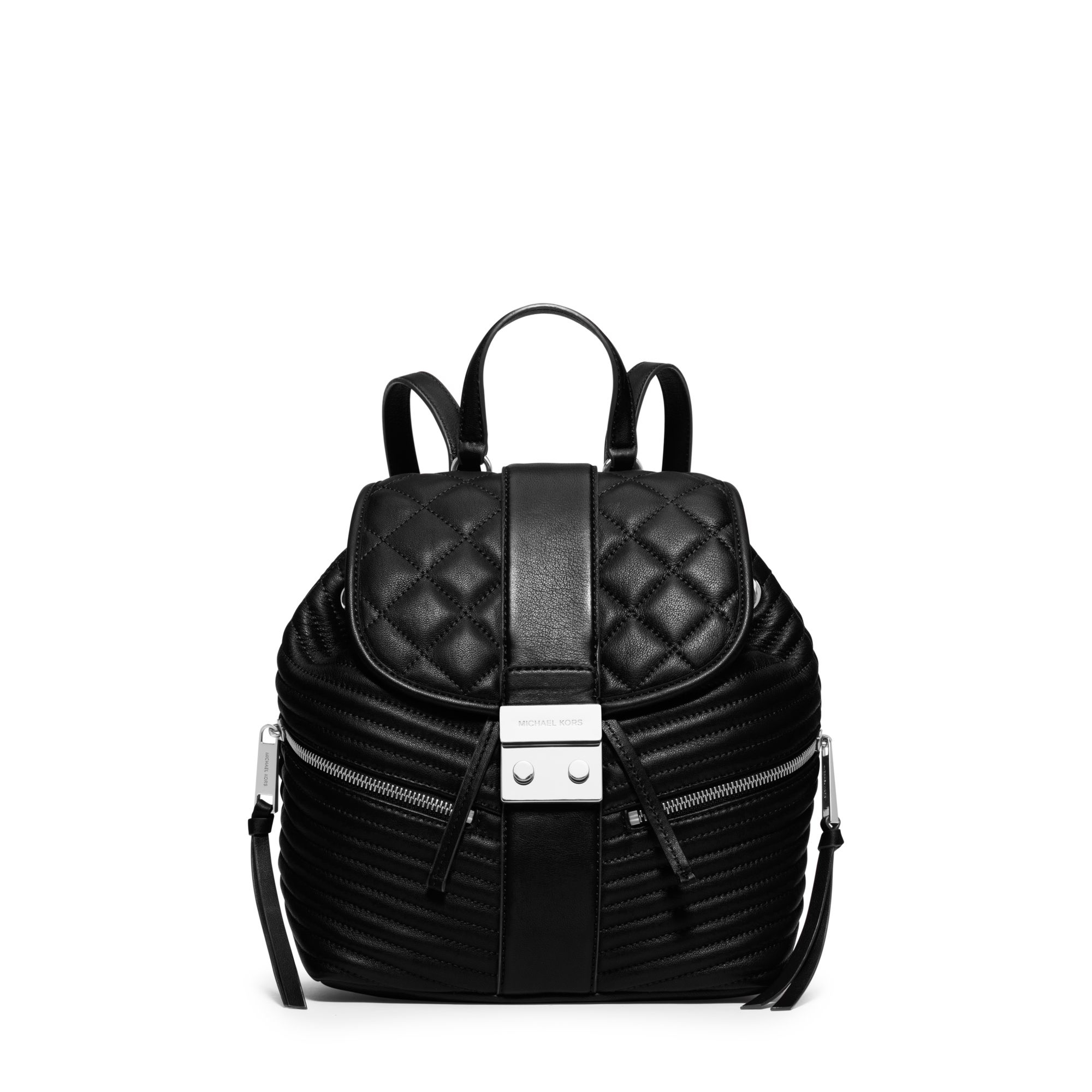 Michael kors Elisa Small Leather Backpack in Black | Lyst