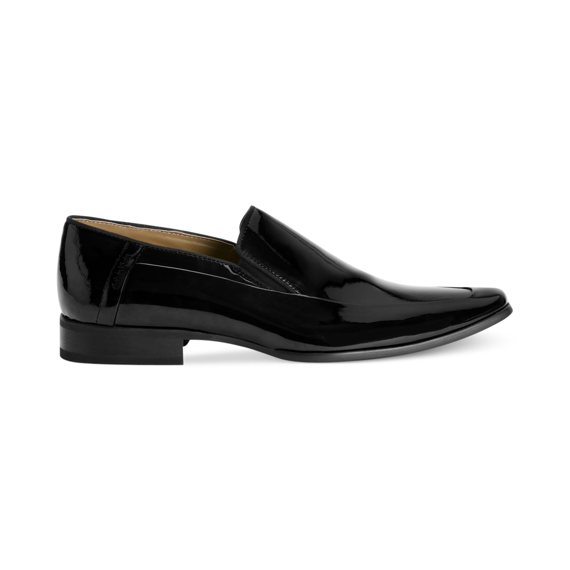 calvin klein s brad patent moc toe slip on shoes in