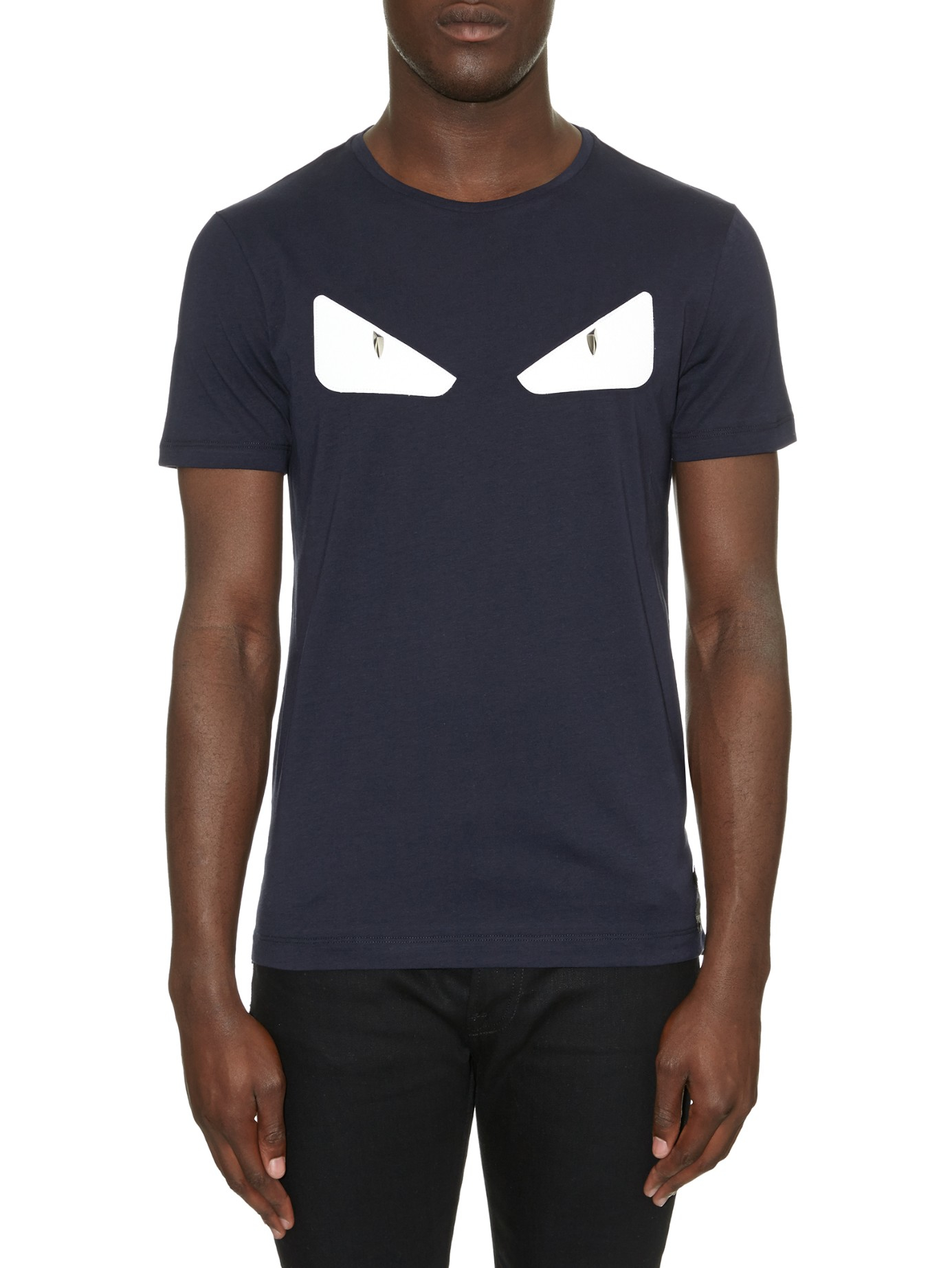 Fendi Bag Bugs Eyes Leather And Cotton Jersey T Shirt In