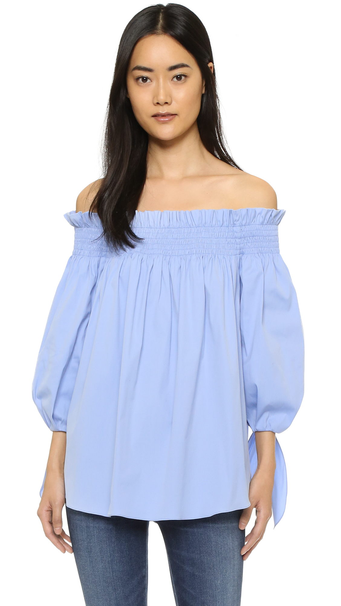caroline constas lou off shoulder top in blue lyst. Black Bedroom Furniture Sets. Home Design Ideas