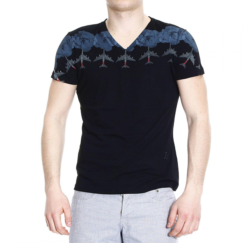 John richmond t shirt half sleeve v print aerei in black for T shirt printing richmond va