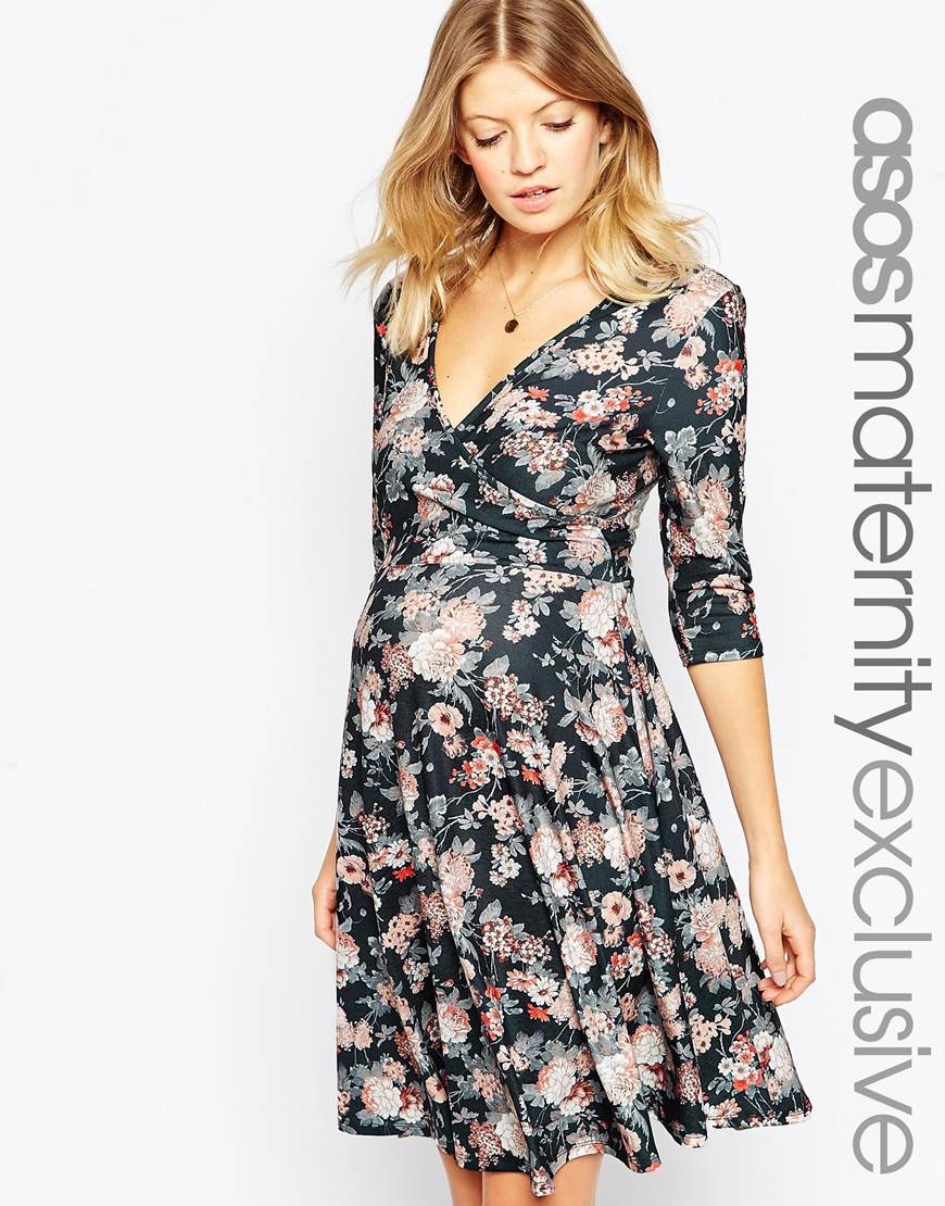 Asos maternity nursing floral wrap skater dress lyst gallery ombrellifo Image collections
