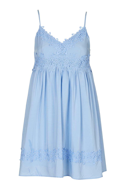 Lyst Topshop Applique Babydoll Sundress In Blue