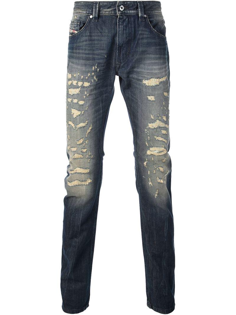 Diesel Ripped Effect Skinny Jeans in Blue for Men | Lyst