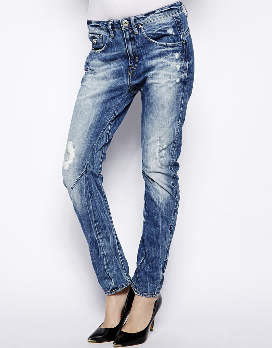 g star raw arc 3d boyfriend jeans in blue lyst. Black Bedroom Furniture Sets. Home Design Ideas