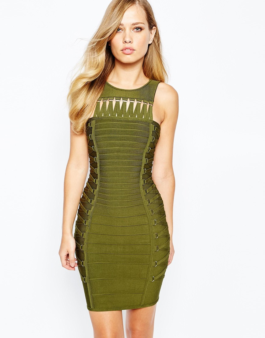 Forever unique Rochelle Lace Up Bandage Dress in Green | Lyst