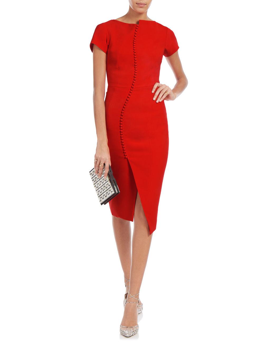 Antonio berardi Red Crepe Button Pencil Dress in Red