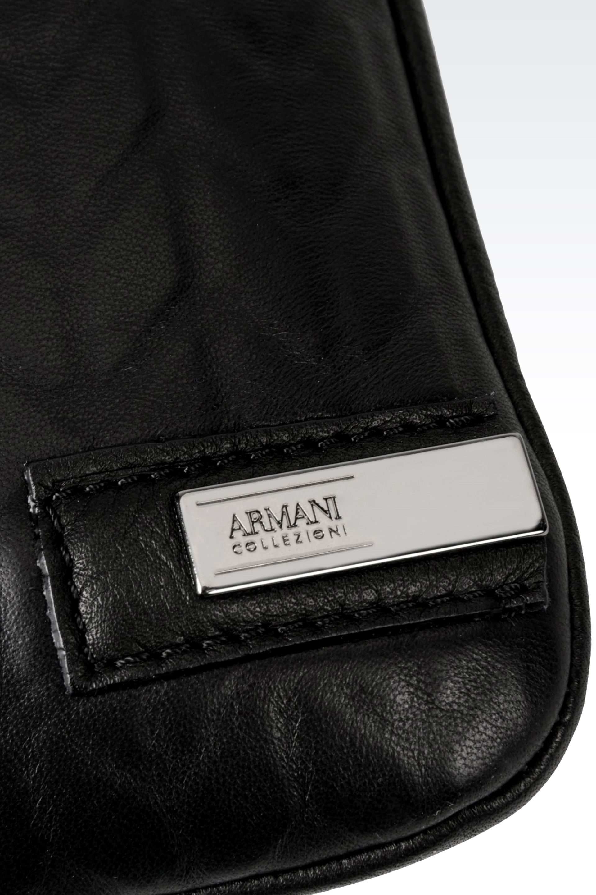 0c8a03a174e0 Lyst - Armani Leather Flat Messenger Bag in Black for Men